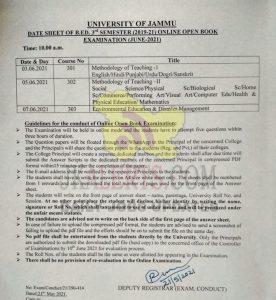 Jammu University B. Ed Date Sheet.