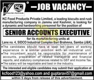 KC Food Products Senior Accounts Executive Jobs.
