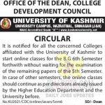 Kashmir University Online Classes Notification.
