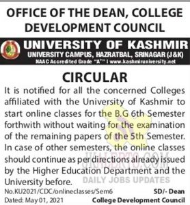 Kashmir University Online Classes Notification.