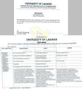Ladakh University Online examination schedule.