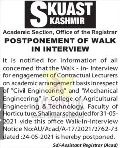 SKUAST Kashmir Postponed walk in interview.