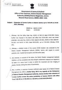 Revised Guildlines of Curfew in Jammu.