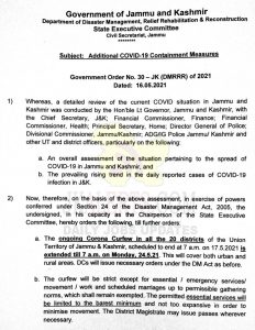 Corona Curfew imposed in all districts of J&K.