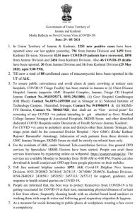 JK COVID 19 update 29 May 2021.