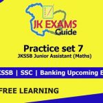 Practice set 7 for JKSSB Junior Assistant (Maths). Important Question for Upcoming JKSSB Exams.