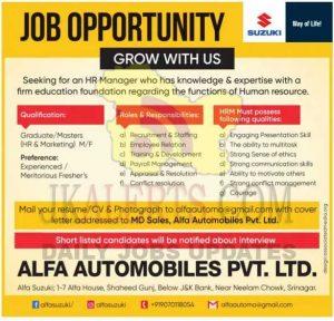 Alfa Automobile Pvt. Ltd Jobs Recruitment 2021.