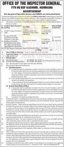 BSF Hospitals Kashmir Jobs Recruitment 2021.
