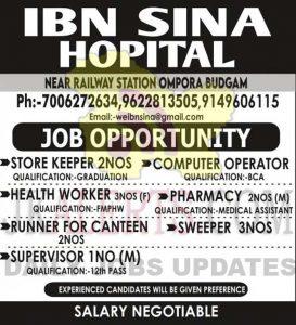 IBN SINA Hospital Budgam Jobs Recruitment 2021.