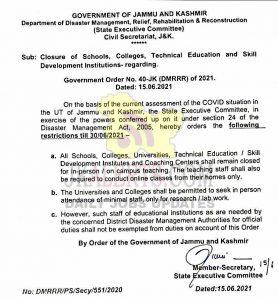 J&K Govt closed all schools, colleges, universities till June 30.