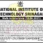 NIT Srinagar Walk in interview.
