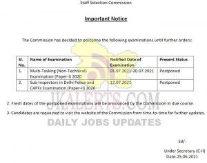 SSC postponed MTS, Delhi police SI, CAPFs Examination.