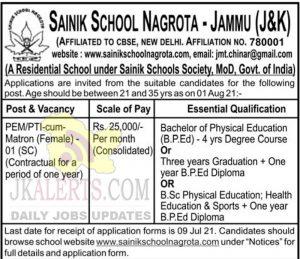 Sainik School Nagrota Jammu Jobs recruitment 2021.