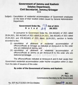 J&K Govt cancels residential accommodation of Darbar Move employees.
