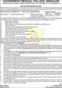 GMC Srinagar jobs walk in interview.