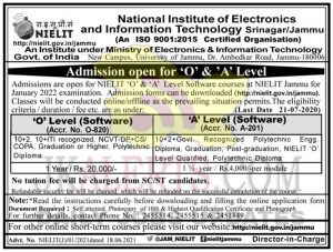 JK NIELIT Admission open for 'O' & 'A' Level.