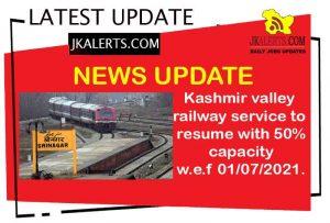 Kashmir Train Service update.