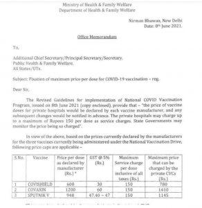 Fixation of maximum COVID19 vaccination price.