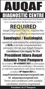 Auqaf Diagnostic Centre Jobs Details.