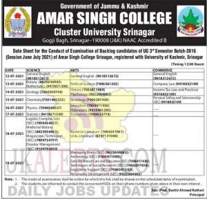 Cluster University Srinagar UG Date Sheet.