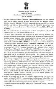JK COVID19 update 06 July 2021.