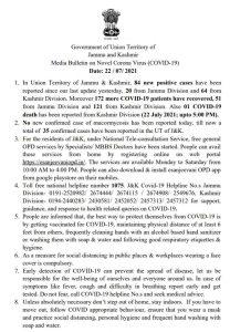 JK COVID19 Update 22 July 2021.