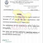 GCW Parade UG examination schedule.