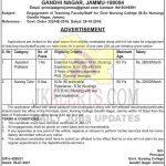 Govt Nursing College Jammu Jobs Recruitment 2021.