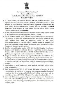 JK COVID 19 Update 20 July 2021.