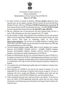JK COVID 19 Update 21 July 2021.