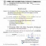 JKPSC Rescheduled of various exams.