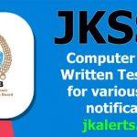 JKSSB Computer Based Written Test (CBT) for various posts.