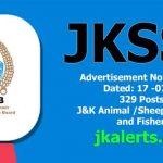 JKSSB Jobs Recruitment 2021 329 posts.