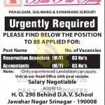 Reservation Associate, Accountants jobs Hotel Pine Srinagar.