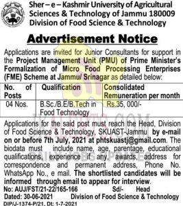 SKUAST Jammu Recruitment 2021 Junior Consultants posts.