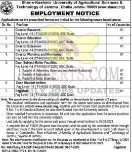 SKUAST Kashmir Jobs recruitment 2021 Various posts