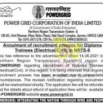 Power Grid canceled Diploma Trainees recruitment.