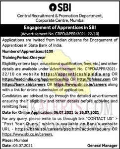 SBI Engagement of Apprentices 6100 posts.