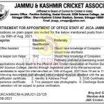 J&K Cricket Association Jobs Recruitment 2021.