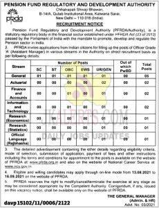 PFRDA Jobs recruitment 2021.