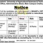 SKUAST Jammu Counselling Schedule 2021.