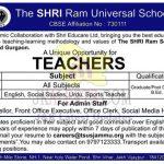 The SHRI Ram Universal Schools Jammu Jobs.