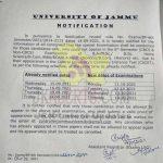 Jammu University Special Examination dates.