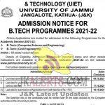 UIET Jammu university B.Tech Admission 2021-22.