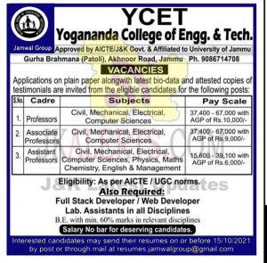YCET Jammu jobs recruitment 2021