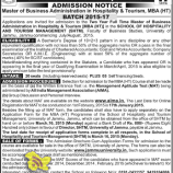 ADMISSION NOTICE  Master of Business Administration in Hospitality & Tourism