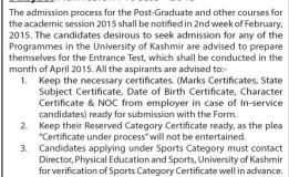 Admission Process – 2015 university of kashmir