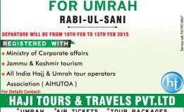 BOOKING OPEN FOR UMRAH RABI-UL-SANI
