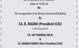 INVITES All its Members & CA Students On The Inauguration of its Building
