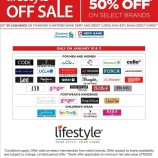 Lifestyle Sale, Flat 50% off selected brands